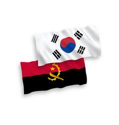 flags south korea and angola on a white vector image