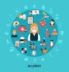 Flat allergy concept vector