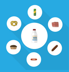 Flat icon food set of beef bottle kielbasa and vector