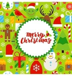 Flat merry christmas postcard vector