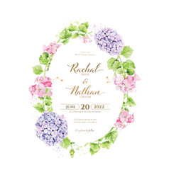 floral wedding invitation card hydrangea vector image