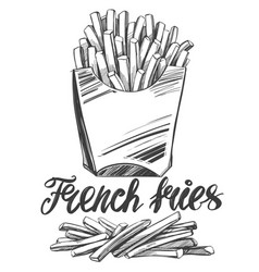 French fries fastfood logo and drawn vector
