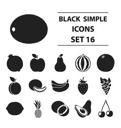 fruits set icons in black style big collection vector image