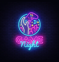 game night neon sign logo design template vector image