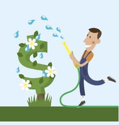 gardener watering a dollar tree vector image