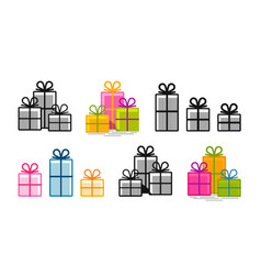 gifts set icons surprise shopping box symbol vector image