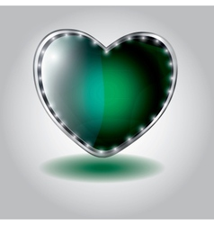Green heart shaped glass button on valentin vector