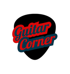Guitar pick in flat style music store logo vector