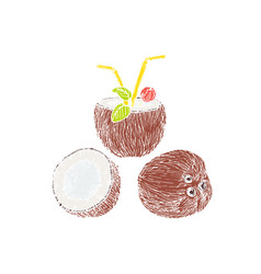 Half of coconut and coconut cocktail composition vector
