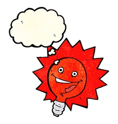 happy flashing red light bulb cartoon with thought vector image