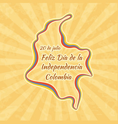 happy independence day in colombia greeting card vector image