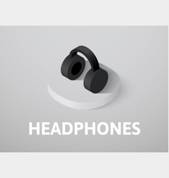 headphones isometric icon isolated on color vector image