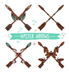 Hipster Color Sketch Arrows Collection vector