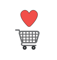 Icon concept shopping cart and heart vector