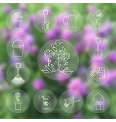 icons working in the garden vector image