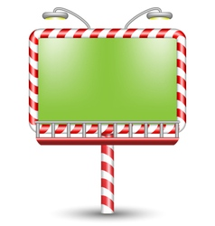Illuminated candy cane billboard on white vector