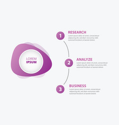 infographics banner circle with 3 step process on vector image