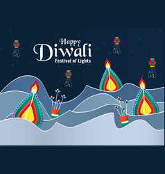 invitation background for diwali festival of vector image