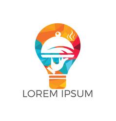light bulb and food logo design vector image
