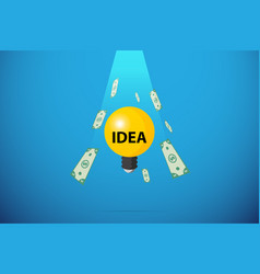 Light bulb with bank note falling from sky vector