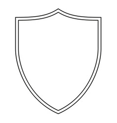 Line art black and white shield vector