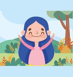 Little girl expression facial nature landscape vector