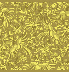 Mexican embroidery gold seamless pattern vector