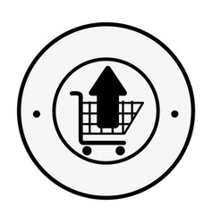 Monochrome circular emblem with shopping cart and vector