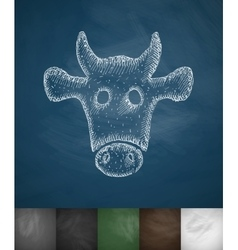 Muzzle cow icon vector