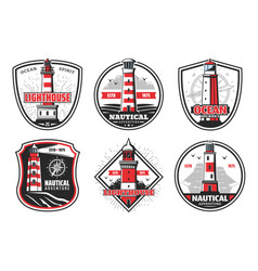 nautical beacons and lighthouse on cliff vector image