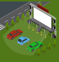 Open air cinema concept card 3d isometric view vector