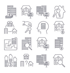 outline web icons set - real estate icon set vector image