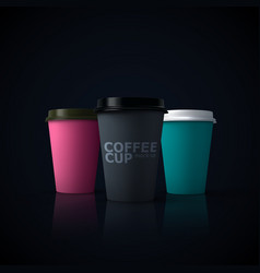 paper coffee cups mock-up vector image