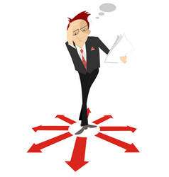 pensive businessman surrounded by arrow signs vector image