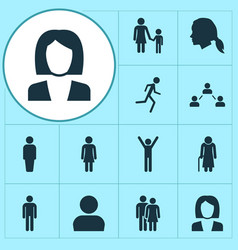 People icons set collection of beloveds old vector