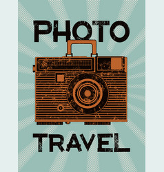 photo travel camera-suitcase retro grunge poster vector image