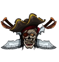 Pirate skull and crossed swords vector image