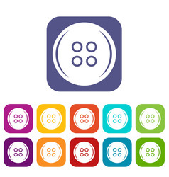 Plastic button icons set flat vector