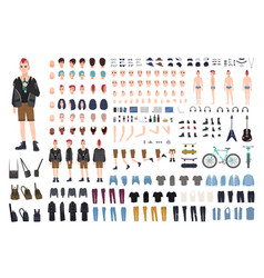 Punk diy or constructor kit set young male vector