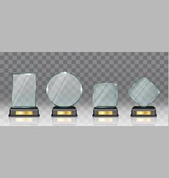 Realistic glass acrylic trophy award set vector