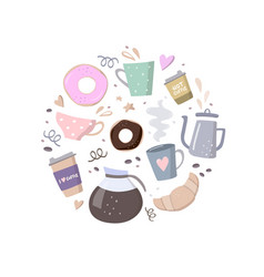 round composition with coffee vector image