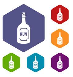 Rum icons set hexagon vector
