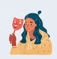 sad woman wearing smile vector image
