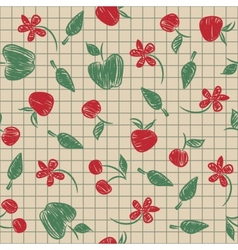 Seamless pattern sketch with fruit and berries vector image