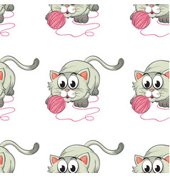 seamless pattern tile cartoon with kitten vector image