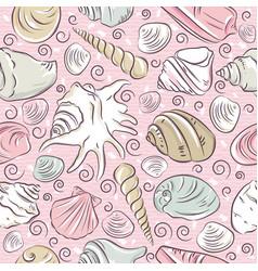 Seamless patterns with summer symbols shellfish vector
