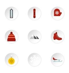 Season winter icons set flat style vector