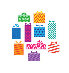 set different gift boxes presents isolated on vector image