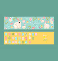 Set easter banners with cute rabbits chickens vector