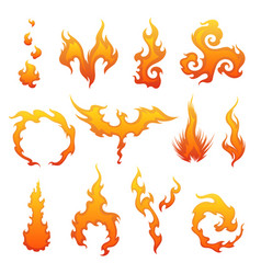 set red and orange fire flame collection of vector image